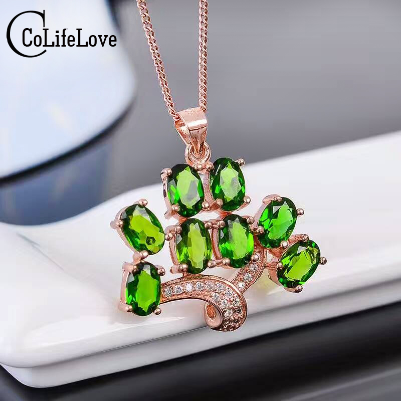 Fashion tree pendant 8pcs 4mm*6mm natural diopside solid 925 silver chrome diopside necklace pendant Russian emerald pendant