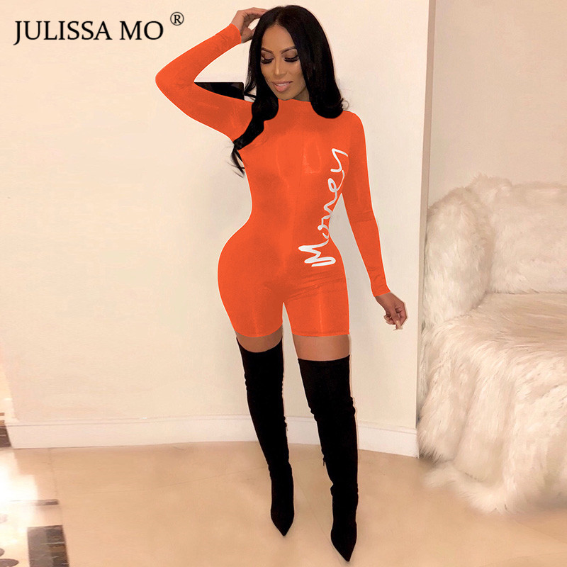 JULISSA MO Letter Print Sexy Bodycon   Jumpsuit   Women Rompers 2019 Long Sleeve Skinny Playsuit Turtleneck Casual Fitness Tracksuit
