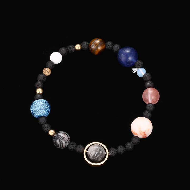 2018 New Handmade Solar System Bracelet Universe Galaxy The Eight Planets Star Natural Stone Bead Bracelets Bangles dropshipping