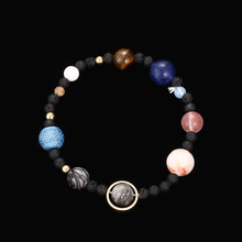 2018 New Handmade Solar System Bracelet Universe Galaxy The Eight Planets Star Natural Stone Bead Bracelets Bangles dropshipping(China)