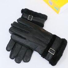 2016 Winter warm gloves for lovers 100% sheep fur brand women's gloves thicken men's fur mittens outdoor driving gloves