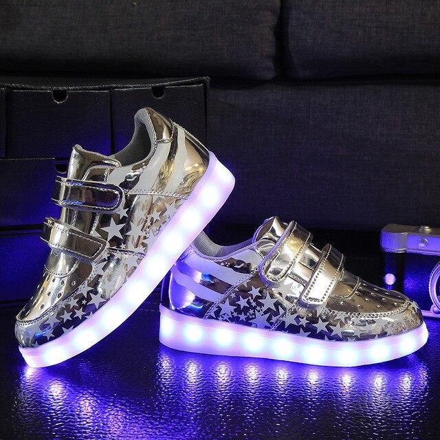 Размер 26-35 2016 детей СВЕТОДИОДНЫЕ Фонари shoes Мальчиков/Девочек USB зарядное устройство освещенные Дети спорт shoes chaussure световой кроссовки tx0577