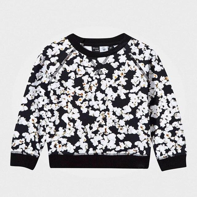 2016 Осенью новый Европейский и Американский модный бренд детей с длинными рукавами толстовки Цветочные Принты Хлопок Девочек Спортивный Свитер