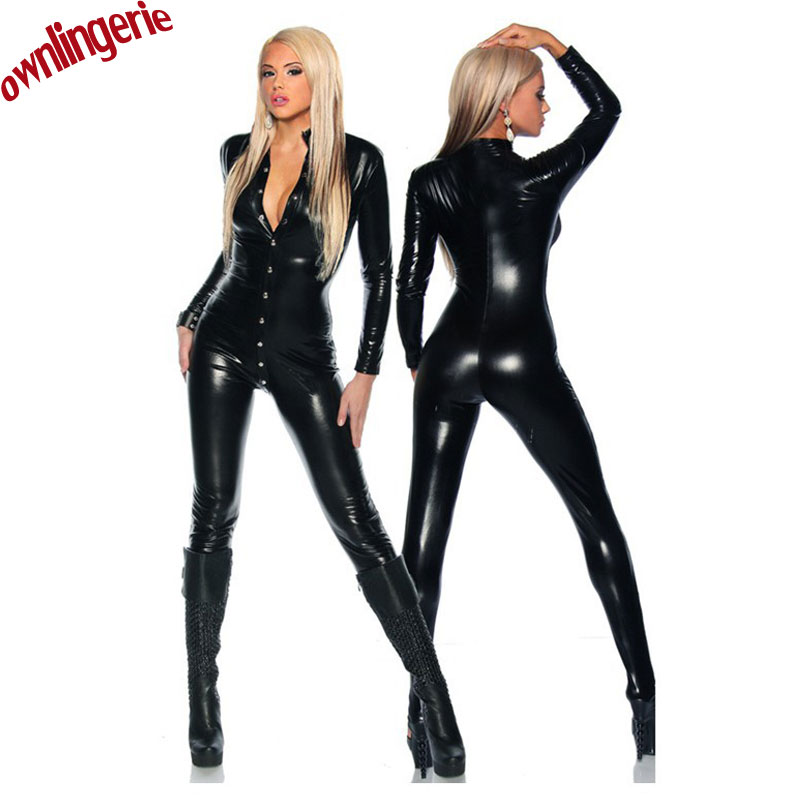 2016 Stylish Women Bodysuit Catsuit Costume,two Way Jumpsuit With Snaps And Zipper,leather Tight Women Clubwear Catsuit/zentai
