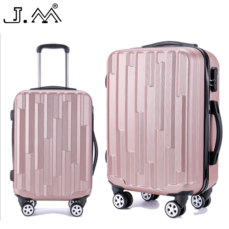 "J.M 20""24"" Spinner Trolly Suitcase on Wheels Travel Rolling Malas De Viagem Carry on Luggage Cabin Case Koffers Vintage Baggage"