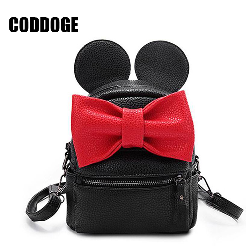 2017 New Cartoon Backpack PU Leather Female Mini Bag Women s Backpack Sweet Bow Teen Girls