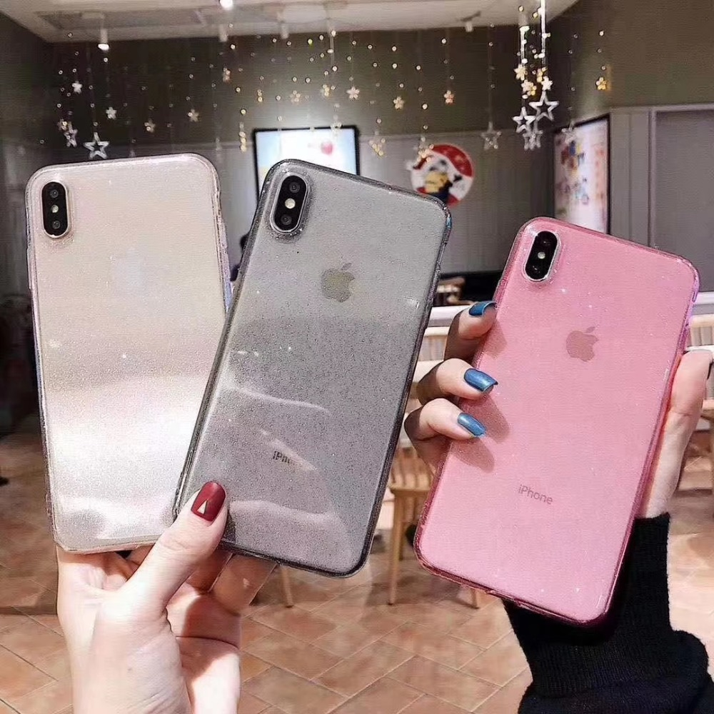 Super Slim Flexible <font><b>Glitter</b></font> Cover for <font><b>iPhone</b></font> 11 Pro XS Max XR Transparent Soft Silicon Capa Fundas for <font><b>iPhone</b></font> <font><b>8</b></font> 7 6 plus <font><b>Hoesjes</b></font> image