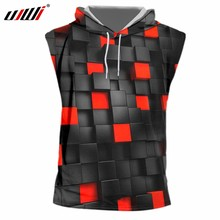UJWI 2019 Fashion Zwart/Rood Vierkant Hooded Tank Top 3D Printing Hip Hop Grappige mannen Casual Zomer Vest(China)