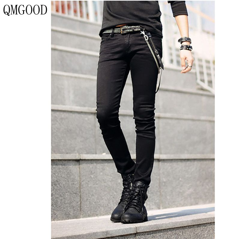QMGOOD 2017 New Black Tight Men Fashion Casual Jeans Korean Version of The Slim Elastic Denim Trousers Pencil Pants 28 29 30 31