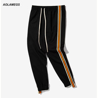 Aolamegs Men Casual Pants Fashion Vintage Track Pants Double Color Side Sripe Webbing Trousers Man Jogger