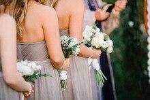 BC97 Latest High Quality Cheap Floor Length vestido madrinha de casamento Long Chiffon Grey Bridesmaid Dresses Plus Size 2015
