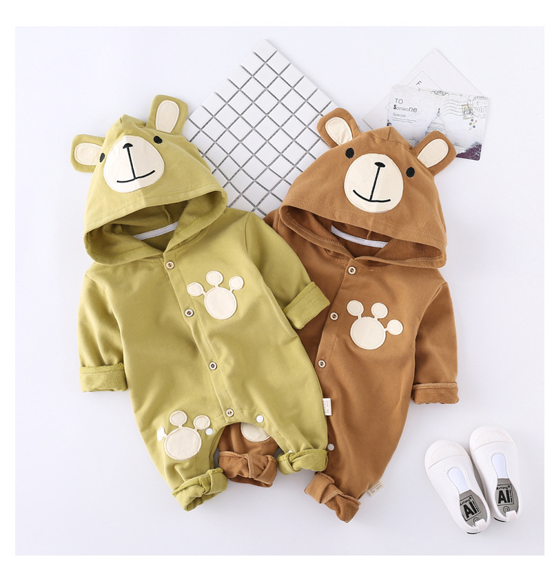 2018 Autumn Baby Clothes Newborn Baby Rompers Long Sleeve Hooded Overalls Jumpsuit Baby Girls Boys Overalls Roupas Bebe Outfits
