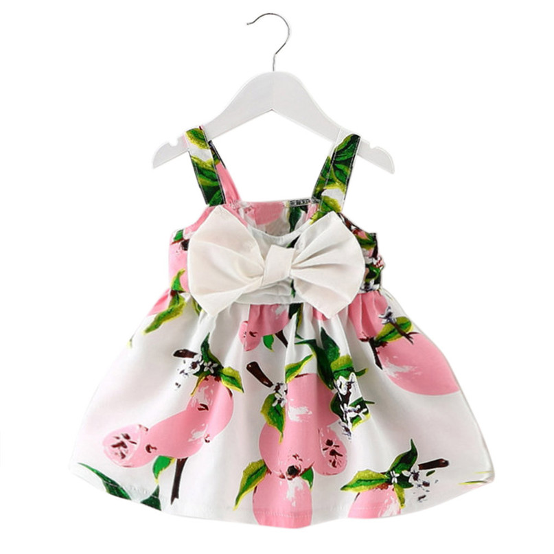 Baby Girl Clothes Bowknot Lemon Printed Infant Outfit Sleeveless Princess Gallus Dress 2018 New Summer Dress Girls Vestidos MM3 2017 new fashion dresses girls lemon printed dress children sundress baby girl clothes bowknot dress for kids girl dress 2 color