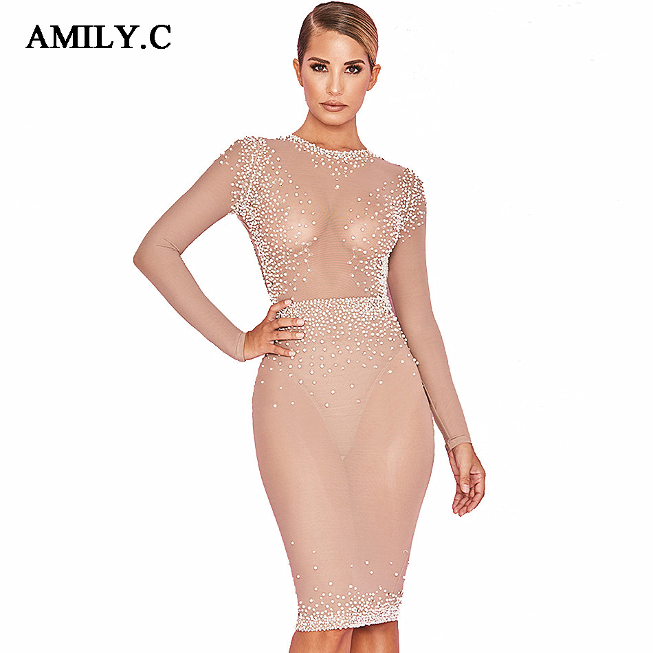 Amily.c 2018 New Spring Women Dress O Neck Sexy Bodycon Mesh Beading Dress  Elegant Club Celebrity Party Nude Dresses Vestidos-in Dresses from Women's  ...