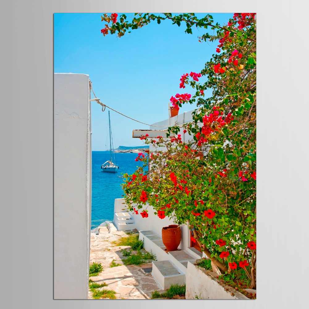 1 panel Large Wall Hang Pictures Greece Santorini Island Scenery Modern Landscape Paintings