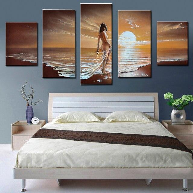 Handgemalten Wandkunst Meer Sexy Frauen Nude Ölgemälde Für Schlafzimmer  Dekor Abstrakt Moderne Leinwand Malerei 5 Panels Ungerahmt