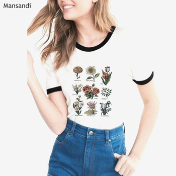 Wildflower Graphic Tees Women vintage Sunshine plant Floral Print T Shirt female white tshirt femme 80s 90s aesthetic clothes love t shirt plus size 90s graphic tees women japanese korean clothes casual print o neck vintage gothic streetwear 2019 print