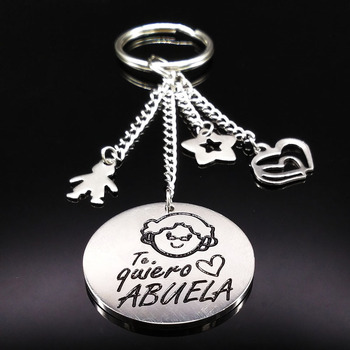 Grandmother Stainless Steel Keychain For Women Silver Color Round Key Chain Jewelry Grandma Gift abuela llavero K73216 image