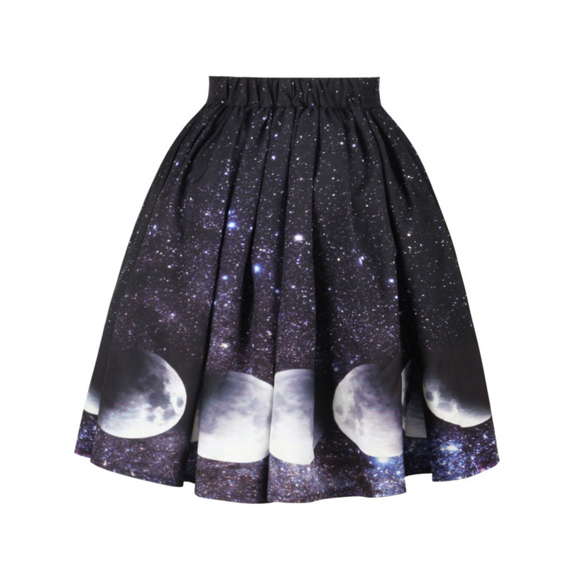 New Womens Fashion Skirt Vintage Rockabilly Skirts 3D Printing Galaxy/space Tutu Skirts Summer