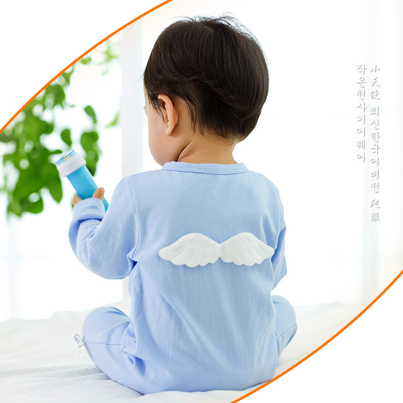 2016 Newborn Baby Rompers Long Sleeves Soft Cotton Clothing Fashion Baby Angel Wings Pajamas Infant Clothes Baby Boys Jumpsuit newborn baby girls rompers 100% cotton long sleeve angel wings leisure body suit clothing toddler jumpsuit infant boys clothes
