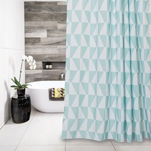 Memory Home Green White Triangles Western Fabric Waterproof Bathroom Products Clear Geometric Shower Curtain Liner with Hooks