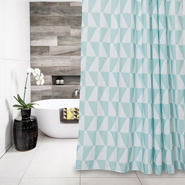 Merveilleux Memory Home Green White Triangles Western Fabric Waterproof Bathroom  Products Clear Geometric Shower Curtain Liner With