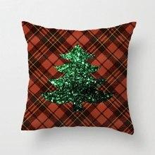 Red Tartan Christmas Tree Green Sparkles Pldesign Throw Pillow Case Decorative Cushion Cover Pillowcase Customize Gift