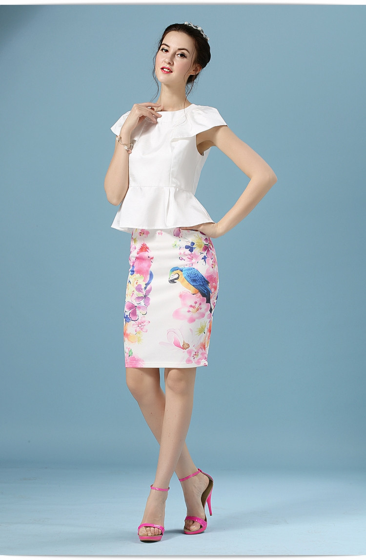 Elegant Office Pencil White Floral Bird Print High Waisted Skirt 5