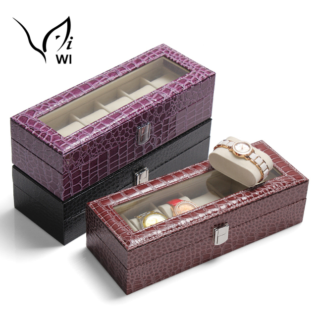 Crocodile Leather Watch Case Jewelry Display Collection Storage Cases Watches Organizer Box Holder Birthday Gift For