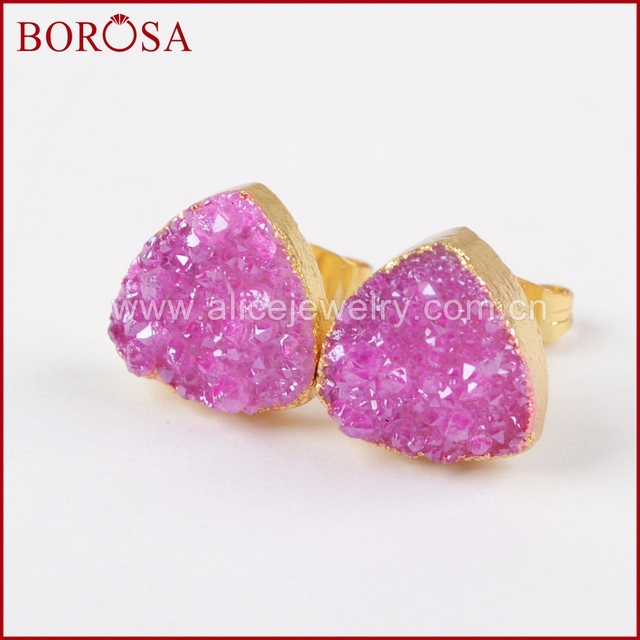 Us 29 37 11 Off Borosa 12mm Gold Druzy Stud Earrings For Women Whole Triangle Anium Rainbow Quartz Stone Drusy G1382 In