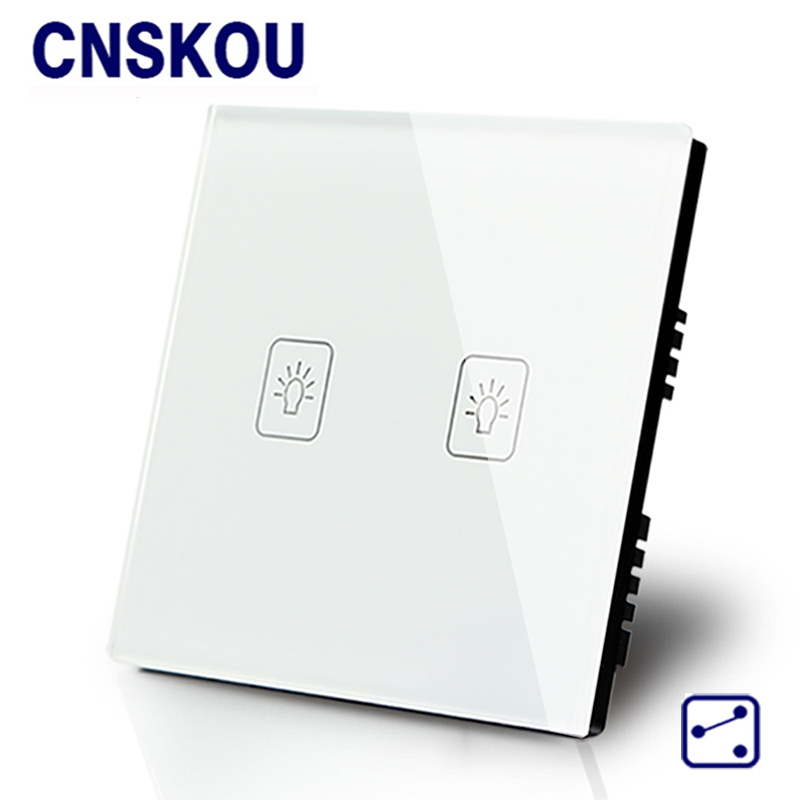Cnskou UK standard 12v 2gang 2way wall touch switches white crystal glass panel touch sensor switch smart home cnskou wall light touch sensor switches 3gang2way golden glass panel led us au standard touch switch ac110v 250v manufacturer