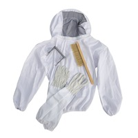 4PCS SET Beekeeping Suit Tool Set Breathable White Beekeeping Jacket Bee Brush Lifter Gloves Set Equipment