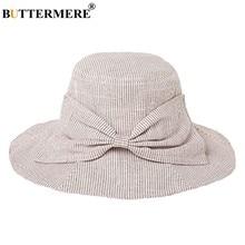 3ebe0b57ea9 BUTTERMERE Striped Bucket Hats Women Cotton Vintage Wide Brim Linen Fishing Hats  Ladies Bow Tie Spring Summer Female Sun Hat