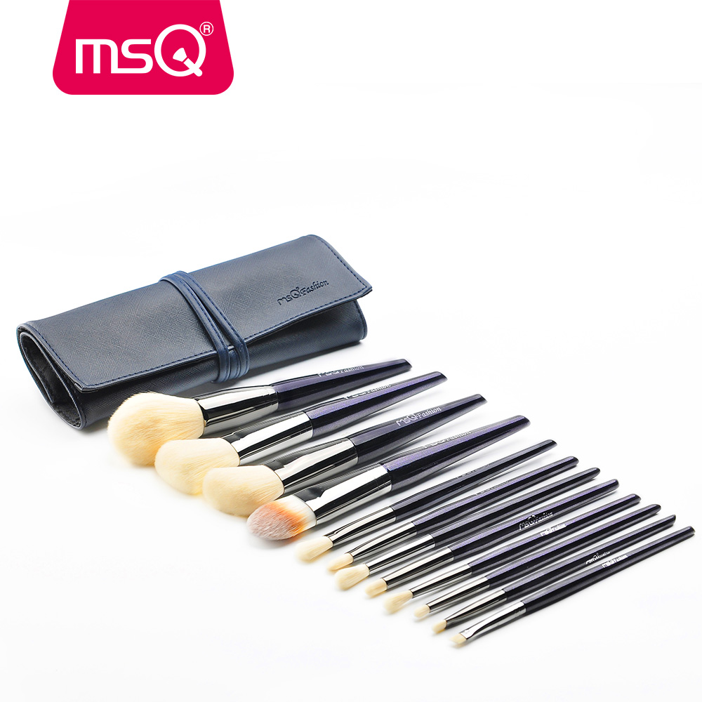 MSQ Pro Classic Soft Synthetic Professional Makeup Brushes 12pcs Sky Color Foundation Powder Blush Eyeliner Cosmetic Set PU Bag 7pcs makeup brushes professional fashion mermaid makeup brush synthetic hair eyebrow eyeliner blush cosmetic