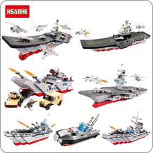 купить Military Army Navy Aircraft Carrier War Ship Nuclear Submarine Destroyer DIY Blocks Building Toy Fit Legoings Gift Collection онлайн