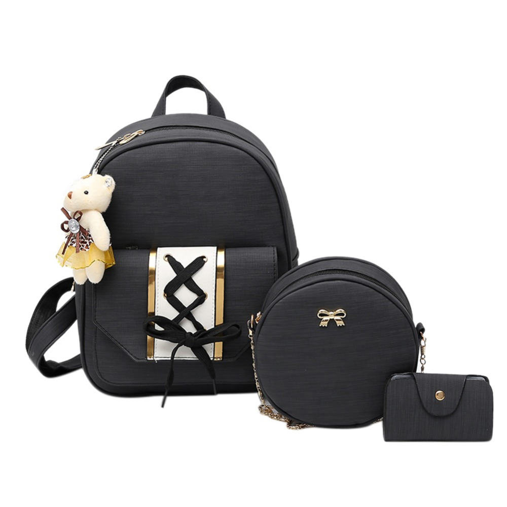Backpacks United Herlad Fashion 3 Pcs Set Backpack Women Bag Plaid School Bags For Girls Backpacks For Women Bear Tassel Shoulder Bags Sac A Dos Women's Bags