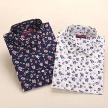Women Floral Blouses Long Sleeve Shirt Turn Down Collar Shirts 5XL Plus Size Camisa Feminina Cotton Shirt Women Tops And Blouses