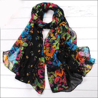 Soft Women Floral Printed   Scarf     Wrap   Fashion Ladies Flower   Scarves   Stole