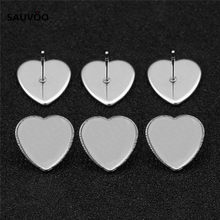 Sauvoo 30pcs Stainless Steel Silver Color Heart Stud Earring Base Settings Black Tray fit 12mm Love Cabochons DIY Jewelry Making(China)