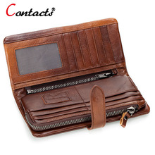 CONTACT'S Brown Genuine leather Men Wallet Men Purse Long  Wallet Male Clutch Bag Coin Purse Zipper Credit Card Holder Phone Bag