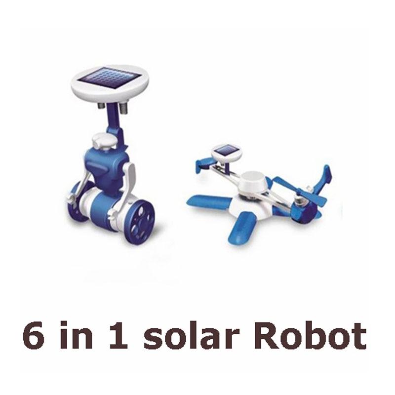 Los nuevos niños de la venta caliente Solar DIY juguetes rompecabezas 6in1 educativos Kits de energía Solar novedad Solar Robots para niños cumpleaños regalo