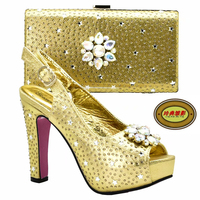 DS20 Multicolor crystal women Wedding shoes with matching bags fashion shoe and bag sets Bride party dress shoes high platform s