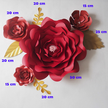DIY RED Giant Paper Flowers Backdrop Artificial Flower  4PCS+Leaves 5PCS Christmas New Year Xmas Deco Decoration Video Mix
