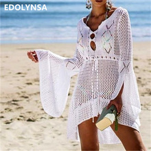 2019 lato kobiety Beachwear Seksowny biały Crochet tunika plaża Wrap sukienka kobieta stroje kąpielowe strój kąpielowy Cover-upy bikini cover up Q719 tanie tanio Pasuje do większych niż zwykle Sprawdź informacje o rozmiarach tego sklepu EDOLYNSA Stałe Akrylowe Wolna Poliester