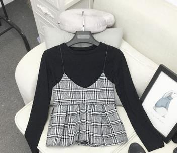 Neploe 2018 S New Korean Women Stand Collar Short Long Sleeve T Shirt + Plaid Pleated V Neck Halter Two Pieces 66421 by Neploe