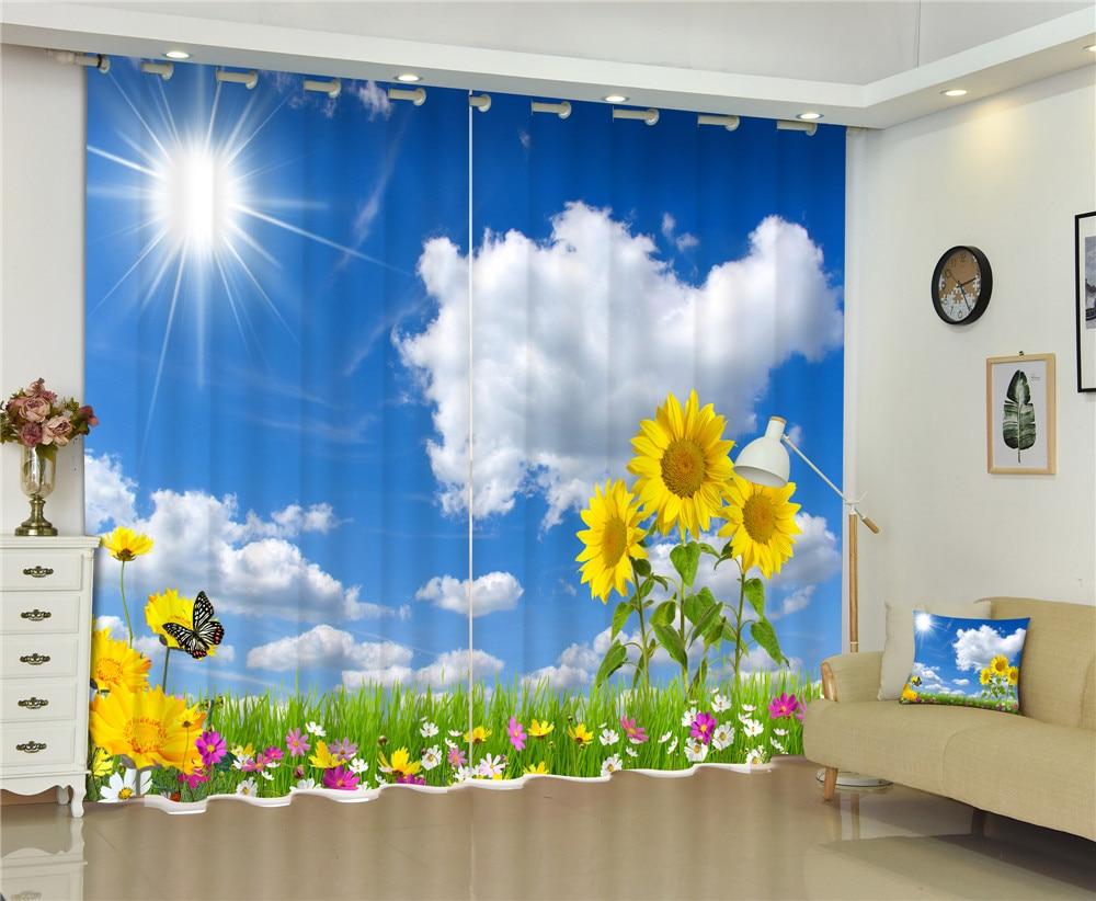 Rideaux tournesol fenêtre luxe occultant 3D Rideaux pour salon bureau chambre Rideaux cortinas Rideaux taille personnalisée