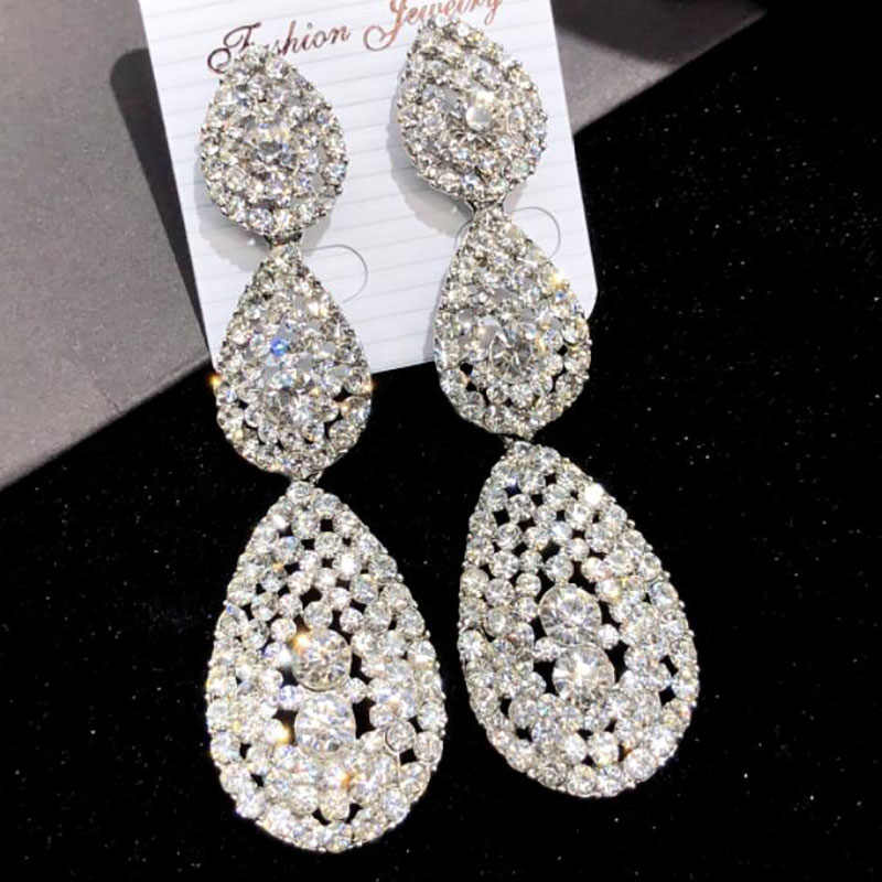 Siver Color Large Drop Earrings Bride Teardrop Shape Crystal Bridal Earrings Women Rhinestone Dangle Wedding Earring