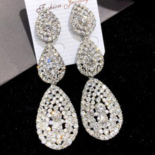 цена на Siver Color Large Drop Earrings Bride Teardrop Shape Crystal Bridal Earrings Women Rhinestone Dangle Wedding Earring