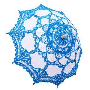 Image 2 - 우아한 코 튼 자 수 레이스 파라솔 야외 여름 태양 우산 웨딩 장식 사진 신부 들러리 우산