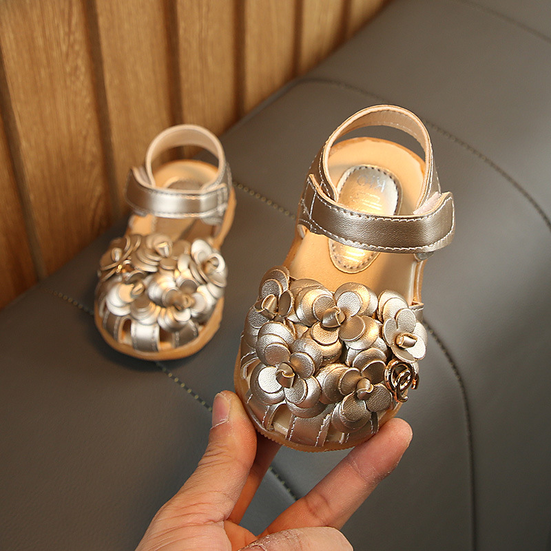 Babies Shoes First-Walkers Newborn Baby-Girls Princess Summer Flower for Cow-Muscle Golden-Color